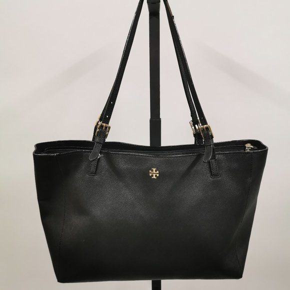 Tory Burch York Black Saffiano Leather Large Tote